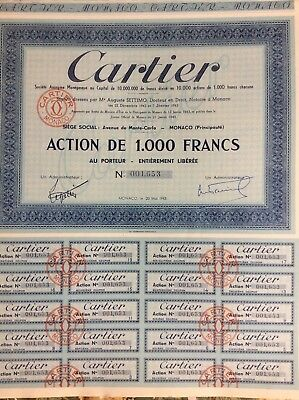 Action Cartier Monaco de 1000 francs 1943
