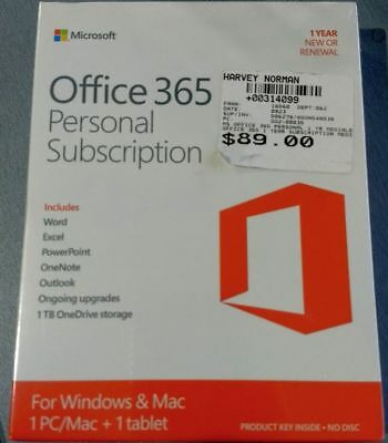 Microsoft Office 365 Personal Subscription 1 year New or Renewal