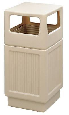 38 gal. Tan Plastic Square Trash Can SAFCO 9476TN