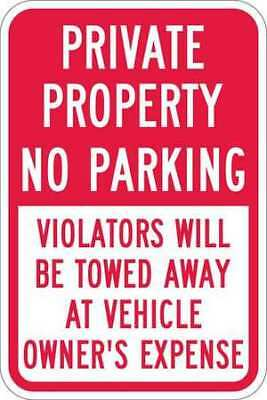 Sign,Private No Parking,18 x12 In LYLE T1-1091-EG_12x18