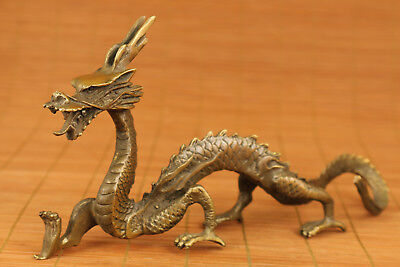 Collectable chinese old Bronze Hand Solid Casting Dragon Statue Figure