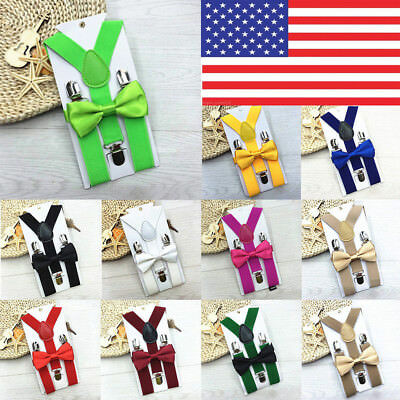 Children Unisex Clip-On Adjustable Y-Back Suspenders Bowtie Matching Outfit high