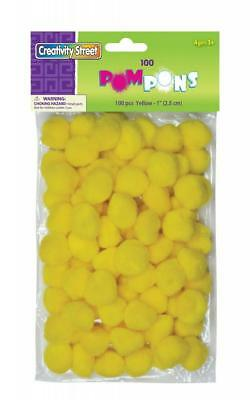 Chenille Kraft Creativity Street Pom Pons 100-Piece X 1-Inch Yellow