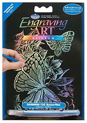 "Royal Brush 5 by 7"" Rainbow Foil Engraving Art Kit, Mini, Butterflies"