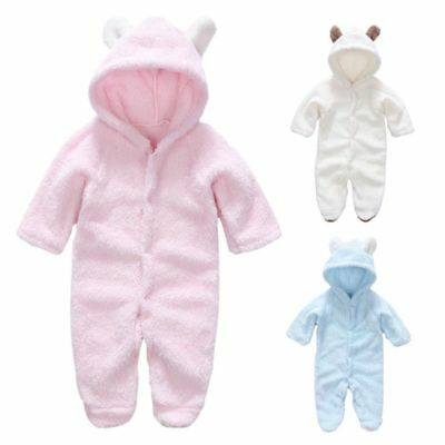 Baby Girls Boys Newborn Velvet Hooded Romper Winter Warm Outwear Outfits Clothes