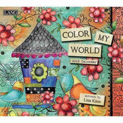 NEW Colour My World Lisa Kaus 2019 Lang Wall Calendar Packed Well Free Postage