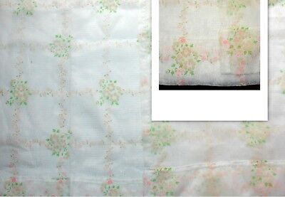 Vintage Sheer Raised Flocked Dotted Swiss Curtains Pink Flowers 2 Panels Fabric