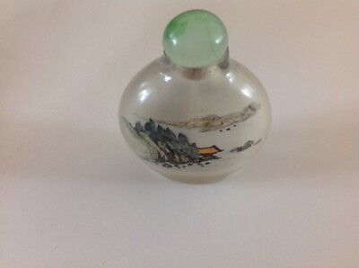 Vintage Chinese Peking Glass Inside Painted Snuff Bottle