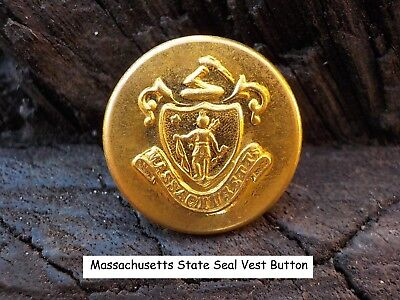 Old Rare Vintage Antique War Relic Massachusetts State Vest Button