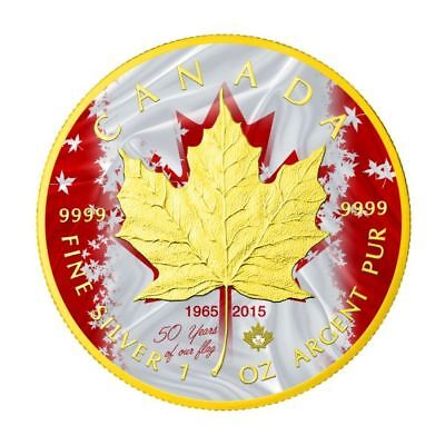 1 oz Silber Kanada *50th Jubiläum Canada Flag Maple Leaf* 24k gilded 5$ 2015 BU