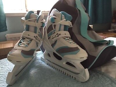 oxelo ice skates white and blue UK size 6 new but with skate bag