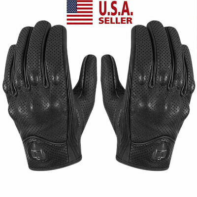 Mens Black Perforated Pursuit Street Stealth Leather Motorcycle Gloves M/L/XL