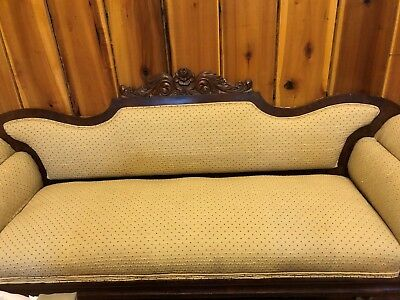 Antique Victorian Sofa & Chairs with Wood Carving a 4 piece Set from 1800s