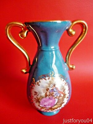 Limoges Veritable Turquoise Blue -  Romance scene Posy Vase.With 22K Gold