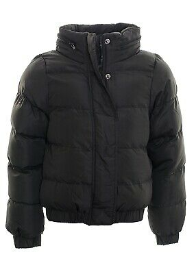 Kid's Hooded Puffer Quilted Padded Bomber Jacket School Parka Coat  Black Age 7-