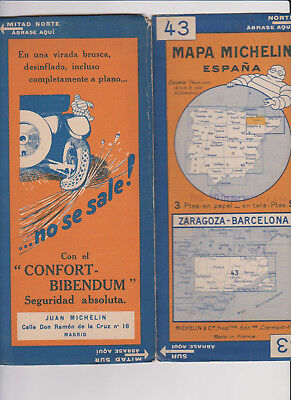 Michelin Bibendum Old Map Mapa Espana N 43 Zaragoza-Barcelona