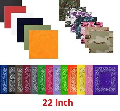 "Bandana 22"" Trainmen Biker Headwrap Solid Camo Paisley Scarf Cotton Skull Do-Ray"