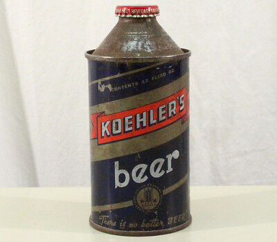 KOEHLER'S IRTP CONE TOP BEER CAN+BOTTLE CAP ERIE PENNSYLVANIA PA PENN 1940's OLD