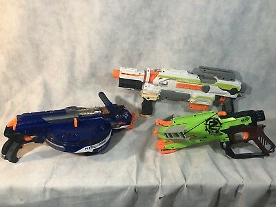Lot Of 3 Nerf Guns Electric Hail-Fire, Electric Module, Zombie Strike Crossbow