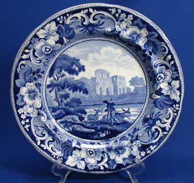 Early Deep Blue Transferware Staffordshire Plate - Roche Abbey Yorkshire