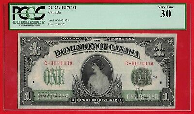✪ 1917 $1 Dominion of Canada Seal Over One Series C DC-23c - PCGS VF-30
