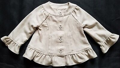 NWOT Adorable Beige JANIE AND JACK Jacket Coat w/ Ruffle Trim Size 12-24 Months