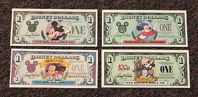 Disney Dollars - Four 1 Dollars - 1987, 1993, 1997, 2002 All D Series