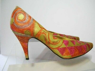 cd00869ea5a Kenneth Cole 80s Vintage Gold Red Abstract Fabric High Heel Pointy Toe  Pumps 6.5