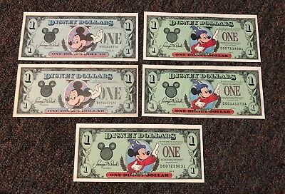 Disney Dollars - Two 1987 D Series and three 1997 D Series