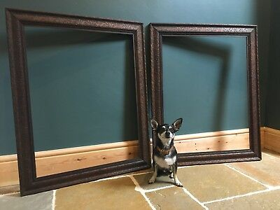 Pair Of Antique Victorian Large Carved Mahogany Picture Frames Rebate 58x74.5cm