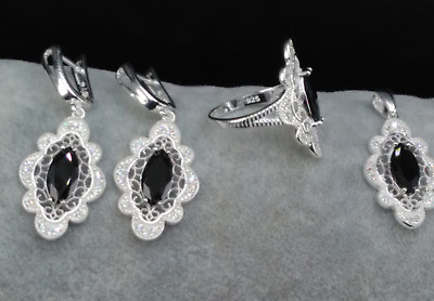 AAA Quality 925 Sterling Silver Filigree Jewelry Marquise Black Onyx Full Set