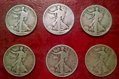 Nice Lot Of Six (6) Early Walking Liberty Half Dollars All Different Dates/mints