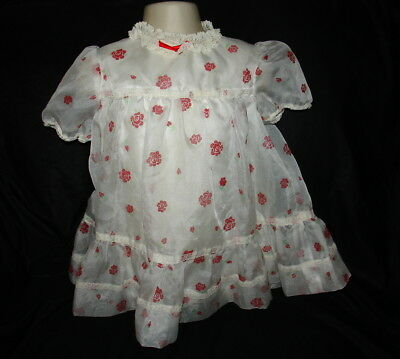 Vintage Sheer Red Roses Lace Baby Gown Dress  Sz 12-18 months