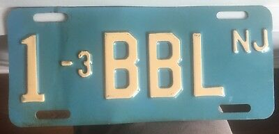 New Jersey Motorcycle Vanity License Plate BBL tag NJ