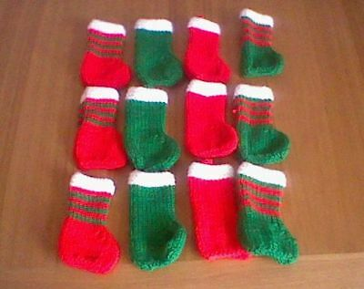 12 Hand Knitted Mini Christmas Stockings Decorations Gift Holder