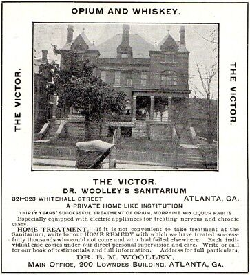 1907 Dr. Woolley's Sanitarium The Victor, Atlanta, Georgia Picture Advertisement