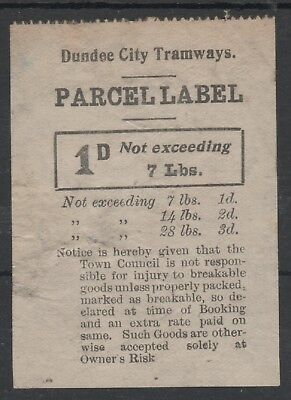 DUNDEE CITY TRAMWAYS 1d BLACK ON WHITE PARCEL STAMP LABEL USED UNCANCELLED