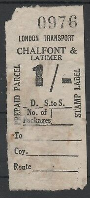 London Transport Railway 1/- Parcel Stamp Chalfont & Latimer Used Not Cancelled