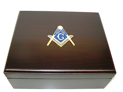 Freemason Masonic Masons 50 Cigar Cherry Finish Humidor Humidifier Hygrometer SH