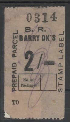 Wales Barry Railway 2/-  Prepaid Parcel Stamp Label Used Pencil Cancel