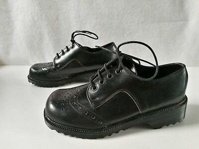 Black Very Sturdy Vintage Style Traditional Brogues Lace Up Shoes Size UK 2