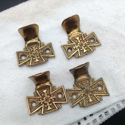 4 Antique Brass Sash Window Lifts Hardware Iron Cross Floral Ornate Victorian