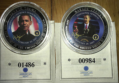 Barack Obama 44th President Set of 2 Colorized American Mint Coins