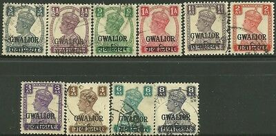 British Colonies,King George VI. USED. GWALIOR.(O/P stamps of India). Good Value