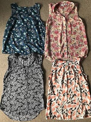 Ladies clothes bundle floral floaty patterned pretty blouses tops size 8 womens