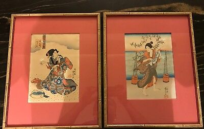 Pair Antique Framed Japanese Woodblock Prints