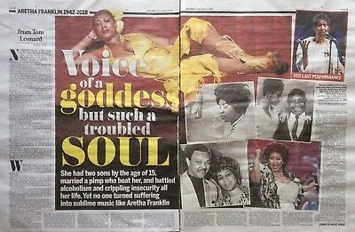 ARETHA FRANKLIN Mixed UK Newspaper Clippings Aug 17th 2018 *Say A Little Prayer