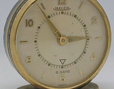 Ancien Reveil Jaeger Swiss Made Mecanique Fonctionne Old Clock