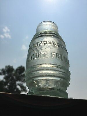 Antique Glass French Mustard Bottle - aqua tool top