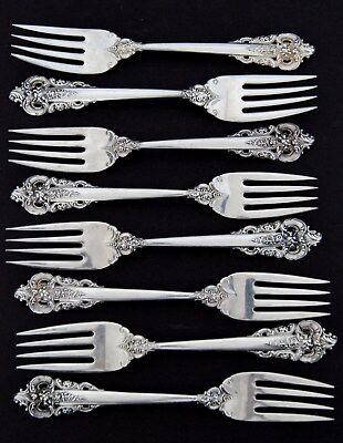 """Lot of 8 Wallace GRAND BAROQUE Sterling Silver Individual Salad Forks 6 1/2"""""""